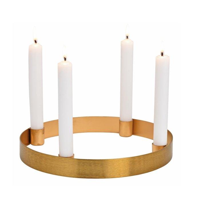 Gouden kandelaar voor vier kaarsen - advent kandelaar diameter 25 cm