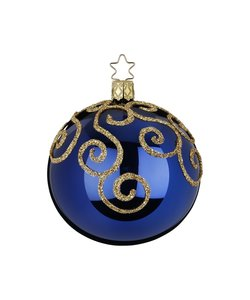 Kerstbal  Nachtblauw met Engelenkrullen