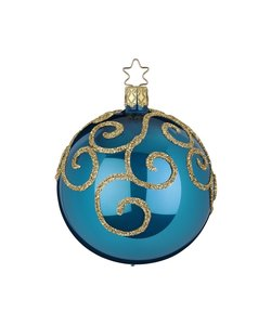 Kerstbal  Hemelsblauw Opaal met Engelenkrullen