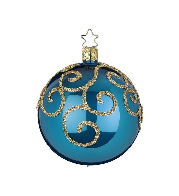 Hemels blauwe kerstbal opaal met gouden engelenkrullen  8 cm - handgemaakt in Duitsland