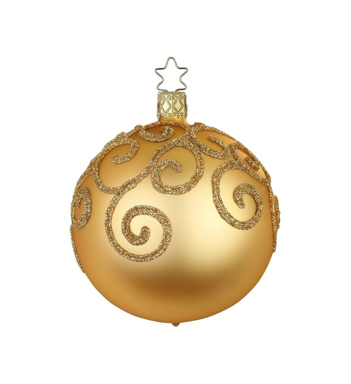 Inka gouden, matte kerstbal met gouden engelenkrullen  8 cm - handgemaakt in Duitsland