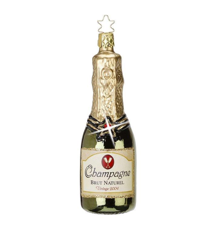 Kerstboomhanger groene fles Champagne 12,5 cm