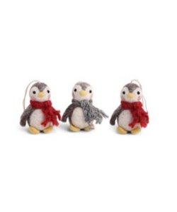 Kersthangers Baby Pinguïns met Sjaal rood en grijs - set van 3