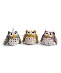 Kersthangers Mini Uiltjes Pastel - set van 3