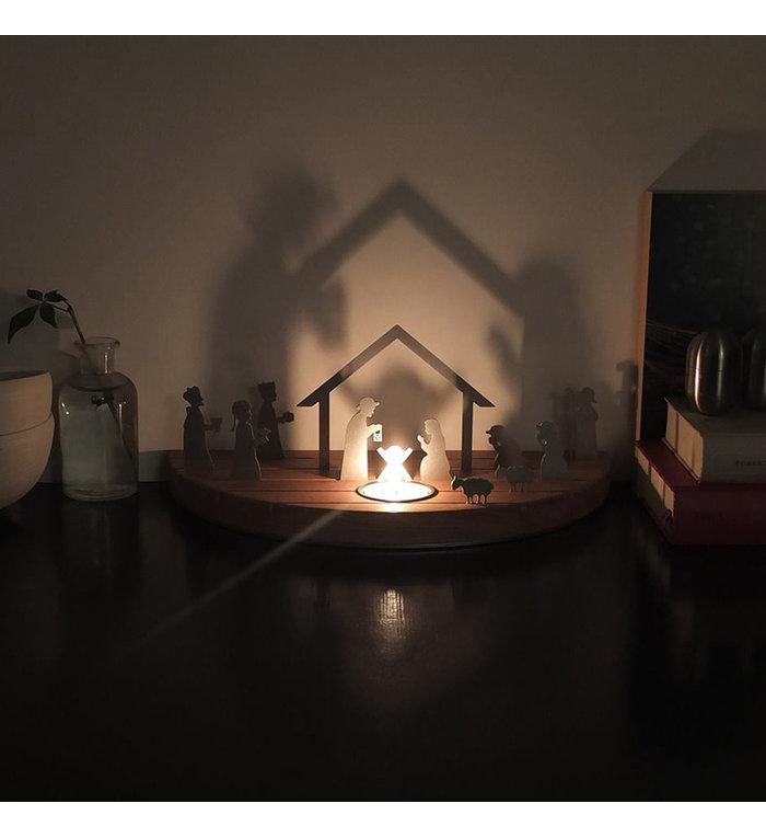 unoferrum Beukenhouten waxinelichthouder Silhouette M Kerststal