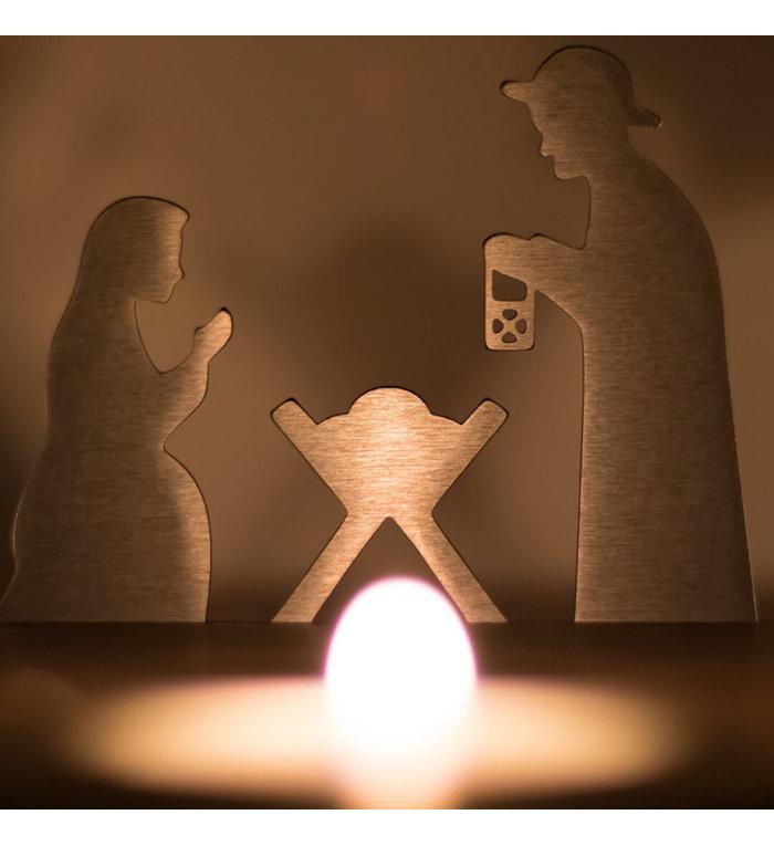 unoferrum Beukenhouten waxinelichthouder Silhouette L Kerststal