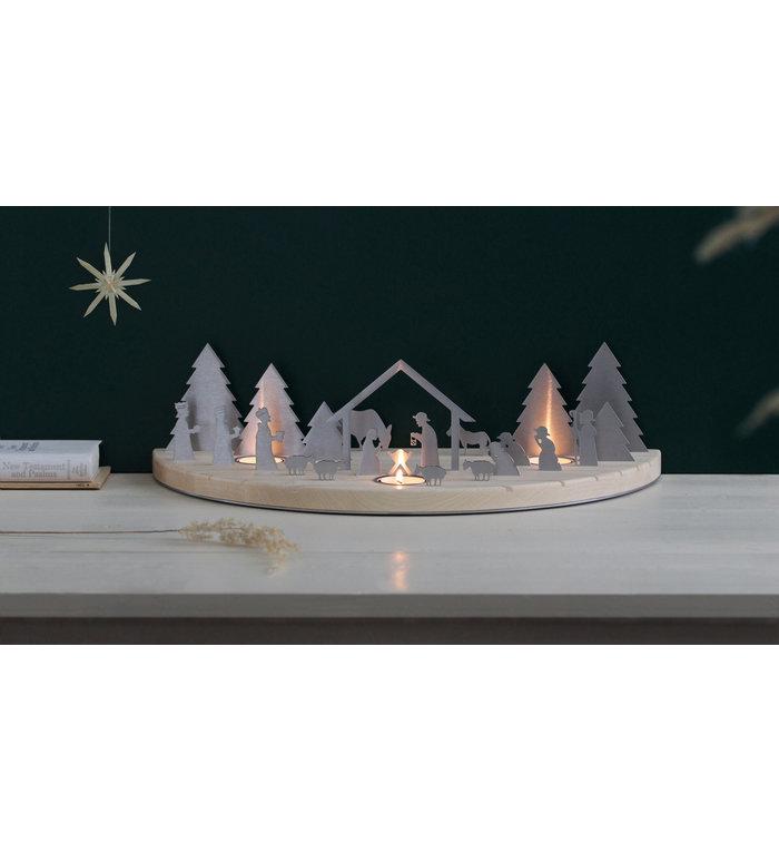 unoferrum Esdoornhouten waxinelichthouder Silhouette L Kerststal - Copy