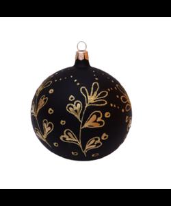Zwarte Kerstballen met Gouden Stijlvolle Decoratie