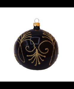 Zwarte Kerstballen met Gouden Glitter Decoratie
