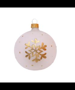 Witte Kerstballen met Gouden Sneeuwvlokken