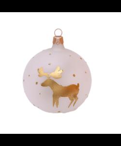 Witte Kerstballen met Gouden Rendieren
