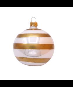 Witte Kerstballen met Gouden Strepen