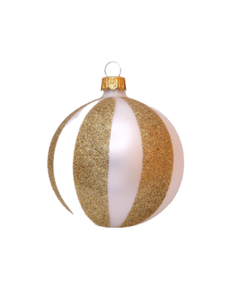 Witte Kerstballen met Verticale Gouden Strepen