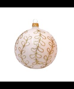 Witte Kerstballen met Gouden Glitter Strikjes decoratie