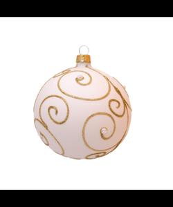 Witte Kerstballen met Gouden Krullen en Pareltjes