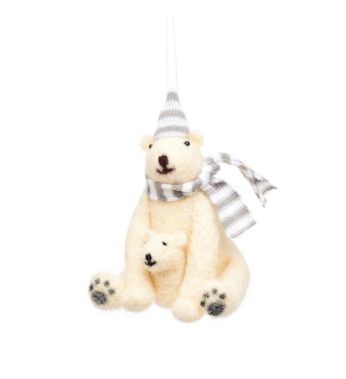 Sass & Belle ijsbeer met baby vilten kerstboomhanger 11.5 cm