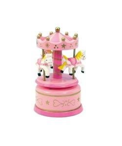 Roze Paardencarrousel Houten Muziekdoosje