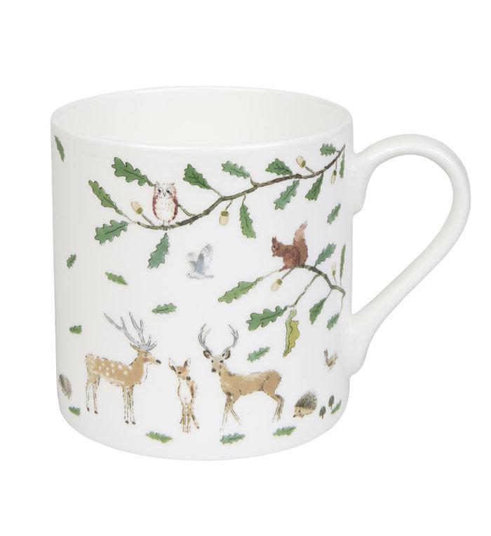 Sophie Allport porseleinen mok met dieren in een winterbos 275 ml
