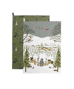 Feestelijk Bos Kerst Theedoeken - set van 2