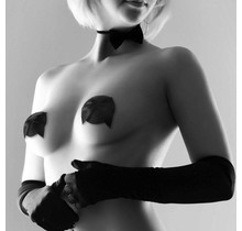 Burlesque Glitter & Satin Pasties - Zwart