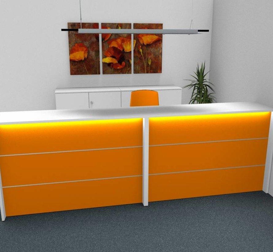 Empfangstheke AS-Line, J-Form, abgerundeter Winkel 2400 x 1600mm