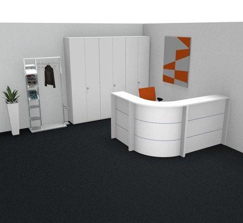 Empfangstheke AS-Line, J-Form, abgerundeter Winkel 2800 x 1600mm