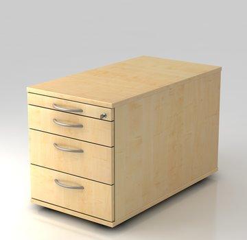 Serie HB - Schrank- und Tischkombination für Büro oder Praxis  Rollcontainer Profi 80cm tief abschließbar mit 3 Schüben