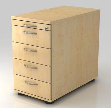 Serie HB - Schrank- und Tischkombination für Büro oder Praxis  Standcontainer Profi 80cm tief abschließbar mit 4 Schüben