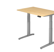 Serie HB - Schrank- und Tischkombination für Büro oder Praxis  Schreibtisch XBH elektrisch höhenverstellbar 120 x 80 cm in Silber
