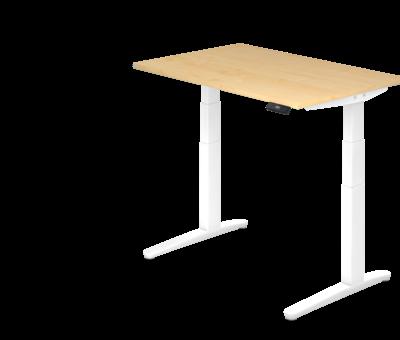 Serie HB - Schrank- und Tischkombination für Büro oder Praxis  Schreibtisch XBH elektrisch höhenverstellbar 120 x 80 cm in Weiß und in 7 Farbvarianten