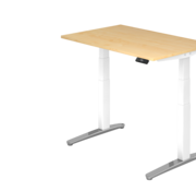 Serie HB - Schrank- und Tischkombination für Büro oder Praxis  Schreibtisch XBH elektrisch höhenverstellbar 120 x 80 cm in Weis/Alu