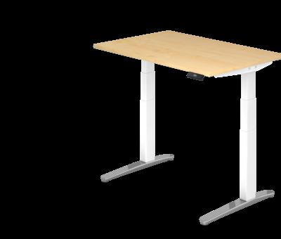 Serie HB Schreibtisch XBH elektrisch höhenverstellbar 120 x 80 cm in Weiß/Alu und in 7 Farbvarianten