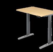 Serie HB - Schrank- und Tischkombination für Büro oder Praxis  Schreibtisch XBH elektrisch höhenverstellbar 120 x 80 cm in Graphit/Alu
