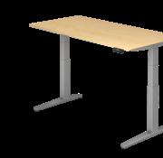 Serie HB - Schrank- und Tischkombination für Büro oder Praxis  Schreibtisch XBH elektrisch höhenverstellbar 160 x 80 cm in Silber