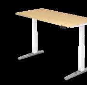 Serie HB - Schrank- und Tischkombination für Büro oder Praxis  Schreibtisch XBH elektrisch höhenverstellbar 160 x 80 cm in Weiß/Alu