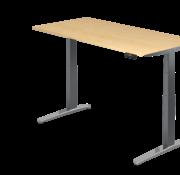 Serie HB - Schrank- und Tischkombination für Büro oder Praxis  Schreibtisch XBH elektrisch höhenverstellbar 160 x 80 cm in Graphit/Alu