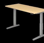 Serie HB - Schrank- und Tischkombination für Büro oder Praxis  Schreibtisch XBH elektrisch höhenverstellbar 180 x 80 cm in Silber