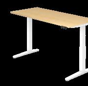 Serie HB - Schrank- und Tischkombination für Büro oder Praxis  Schreibtisch XBH elektrisch höhenverstellbar 180 x 80 cm in Weiß