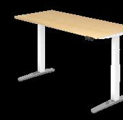Serie HB - Schrank- und Tischkombination für Büro oder Praxis  Schreibtisch XBH elektrisch höhenverstellbar 180 x 80 cm in Weiß/Alu