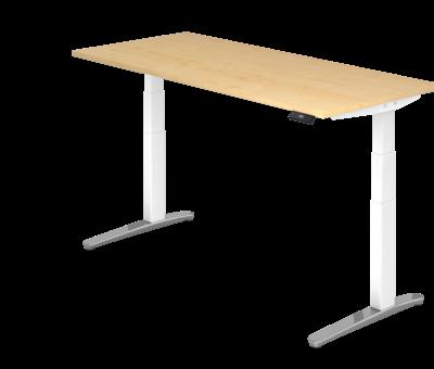 Serie HB Schreibtisch XBH elektrisch höhenverstellbar 180 x 80 cm in Weiß/Alu und in 7 Farbvarianten