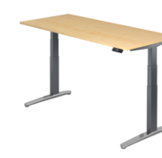 Serie HB - Schrank- und Tischkombination für Büro oder Praxis  Schreibtisch XBH elektrisch höhenverstellbar 180 x 80 cm in Graphit/Alu
