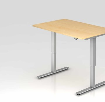 Serie HB Schreibtisch XMST mit Tast-Schalter 120 x 80 cm in Silber