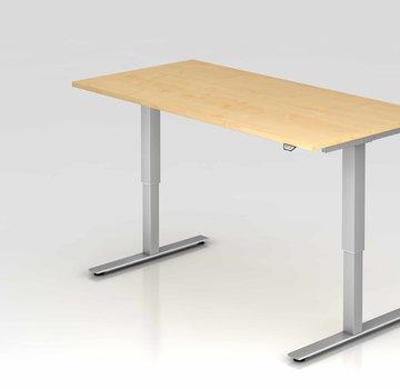 Serie HB Schreibtisch XMST mit Tast-Schalter 160 x 80 cm in Silber