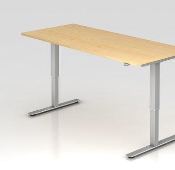 Serie HB Schreibtisch XMST mit Tast-Schalter 180 x 80 cm in Silber