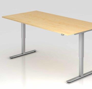 Serie HB Schreibtisch XMST mit Tast-Schalter 200 x 100 cm in Silber