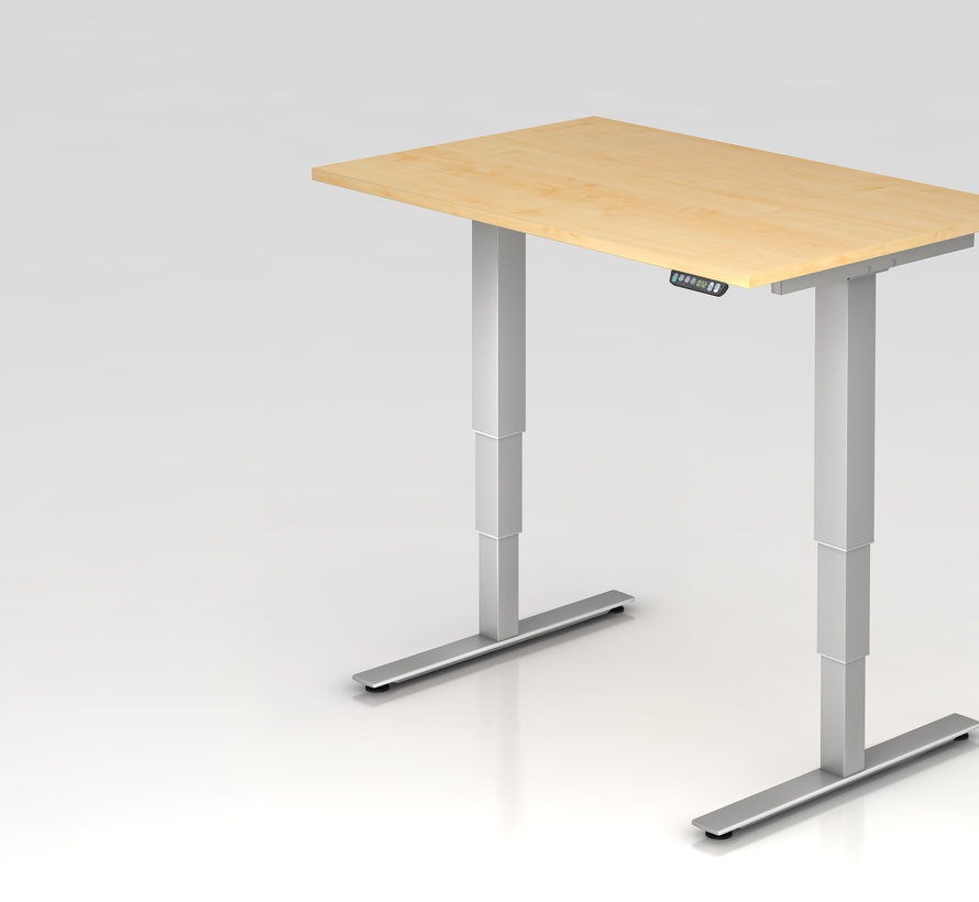 Schreibtisch XDSM mit Memory Schalter 120 x 80 cm in Silber und in 7 Farbvarianten