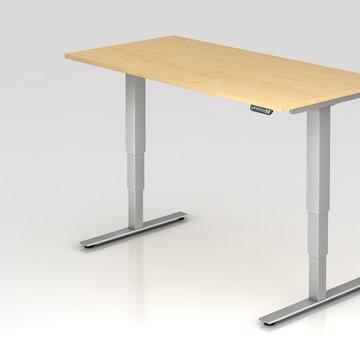 Serie HB Schreibtisch XDSM mit Memory Schalter 160 x 80 cm in Silber