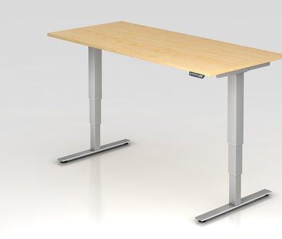 Serie HB - Schrank- und Tischkombination für Büro oder Praxis  Schreibtisch XDSM mit Memory Schalter 180 x 80 cm in Silber und in 7 Farbvarianten