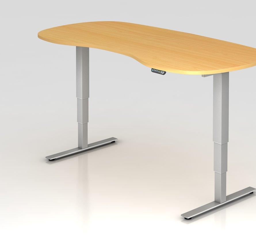 Schreibtisch XDSM Rund mit Memory Schalter 200 x 100 cm in Silber und in 7 Farbvarianten