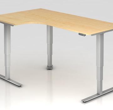 Serie HB Schreibtisch XDSM mit Memory Schalter 200 x 120 cm in Silber